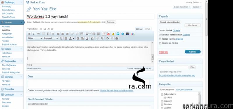 WordPress 3.2 yayınlandı!